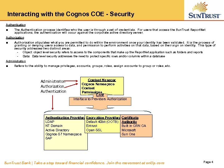 Interacting with the Cognos COE - Security Authentication ■ The Authentication process identifies who