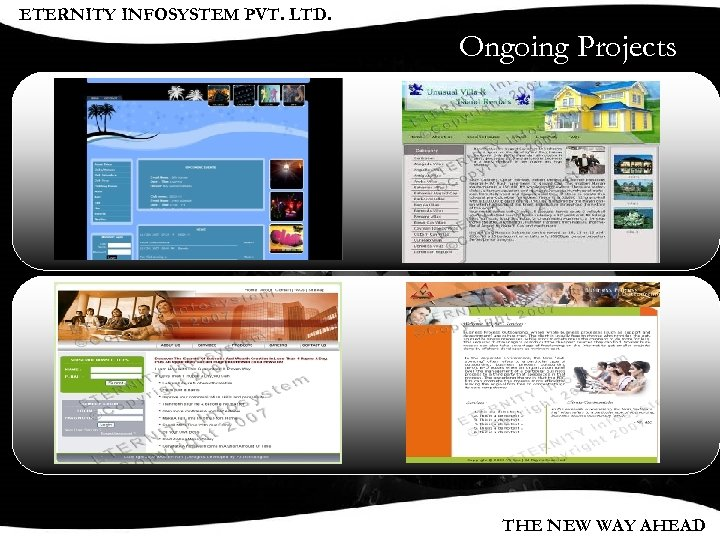 ETERNITY INFOSYSTEM PVT. LTD. Ongoing Projects THE NEW WAY AHEAD