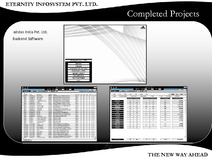 ETERNITY INFOSYSTEM PVT. LTD. Completed Projects adidas India Pvt. Ltd. Backend Software THE NEW