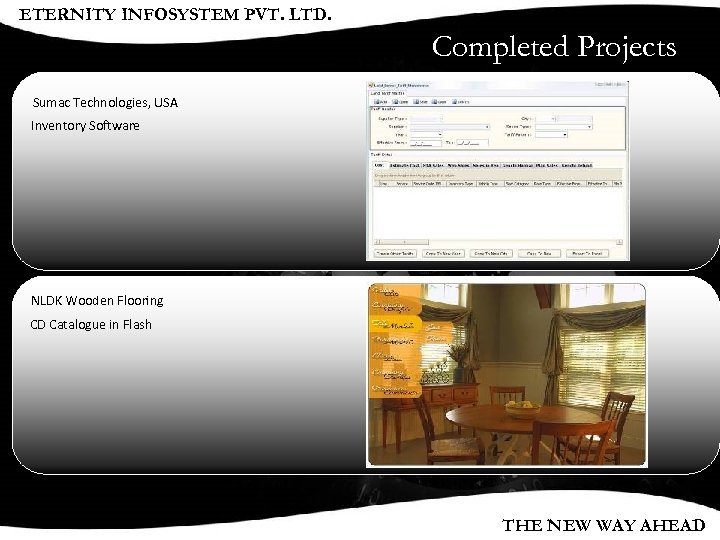 ETERNITY INFOSYSTEM PVT. LTD. Completed Projects Sumac Technologies, USA Inventory Software NLDK Wooden Flooring