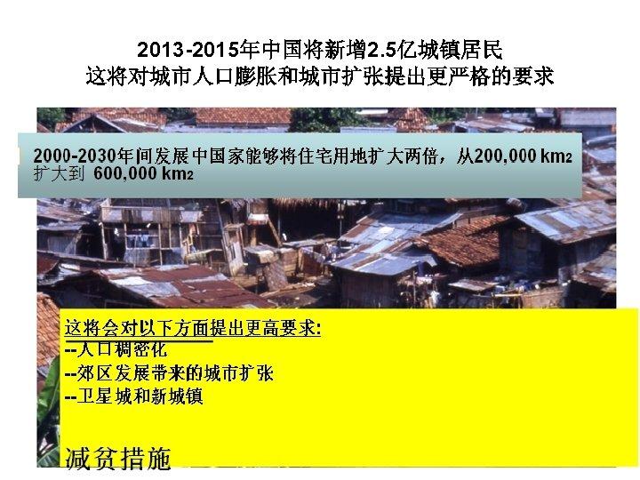 2013 -2015年中国将新增 2. 5亿城镇居民 这将对城市人口膨胀和城市扩张提出更严格的要求