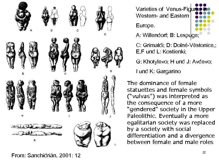 Varieties of Venus Figures in Western and Eastern Europe. A: Willendorf; B: Lespuge; C: