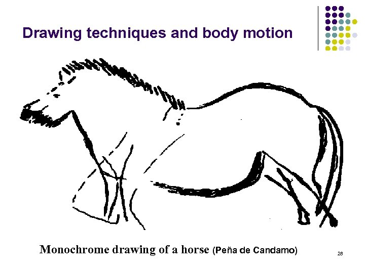 Drawing techniques and body motion Monochrome drawing of a horse (Peña de Candamo) 28