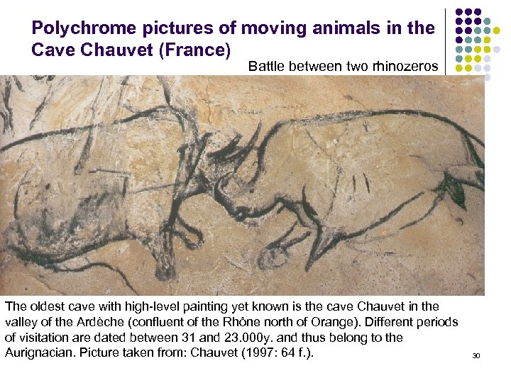 Polychrome pictures of moving animals in the Cave Chauvet (France) Battle between two rhinozeros
