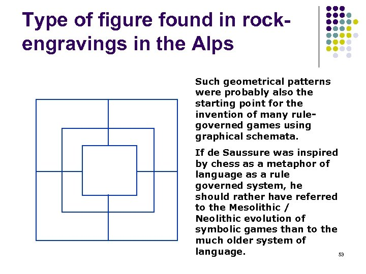 Type of figure found in rockengravings in the Alps Such geometrical patterns were probably