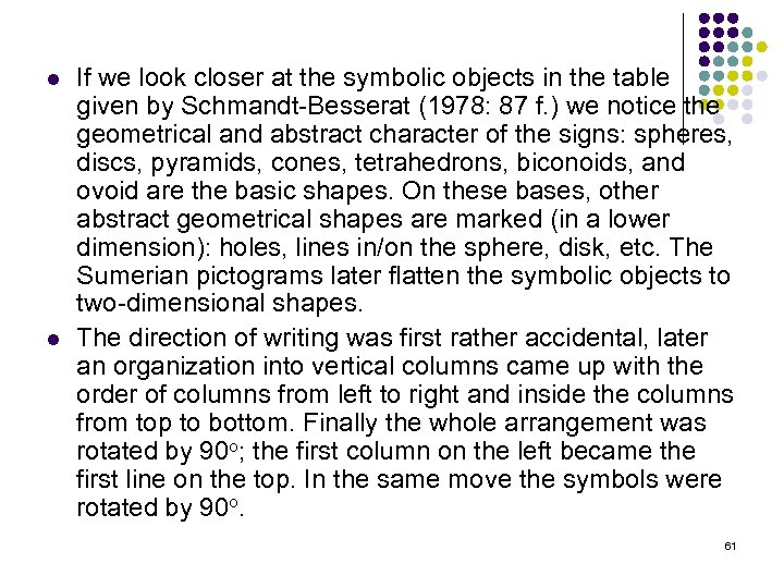 l l If we look closer at the symbolic objects in the table given