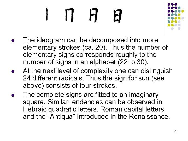 l l l The ideogram can be decomposed into more elementary strokes (ca. 20).