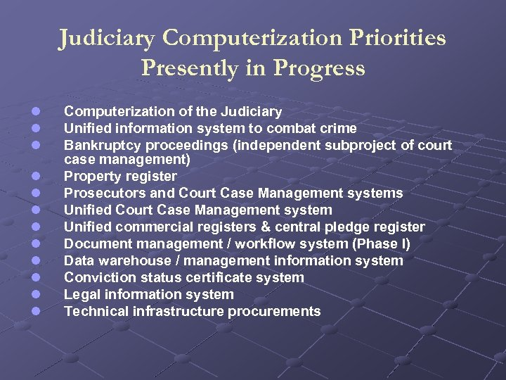 Judiciary Computerization Priorities Presently in Progress l l l Computerization of the Judiciary Unified