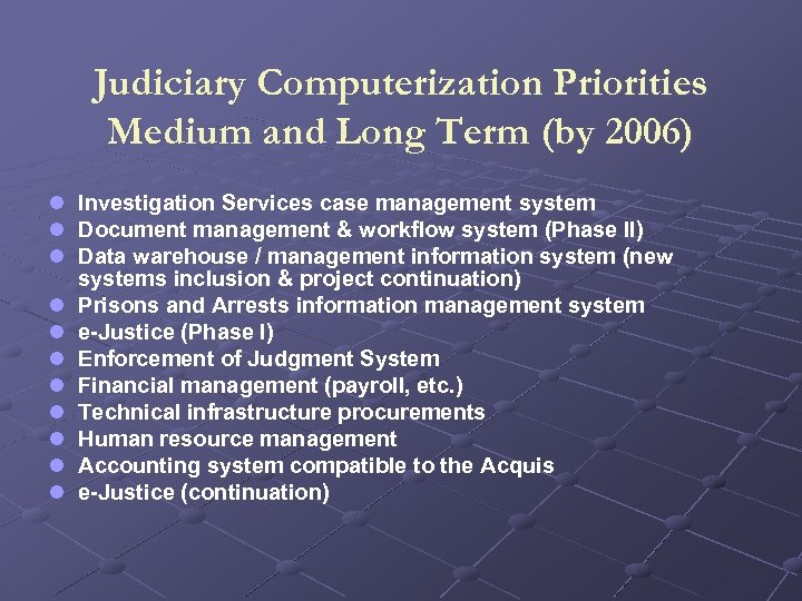 Judiciary Computerization Priorities Medium and Long Term (by 2006) l Investigation Services case management