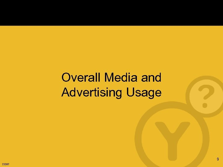 Overall Media and Advertising Usage 9 21267