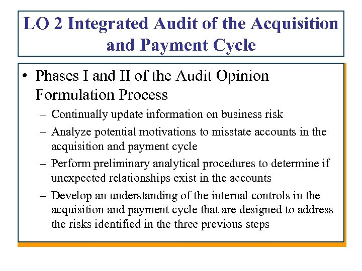 Chapter 11 Audit of Acquisition and Payment Cycle