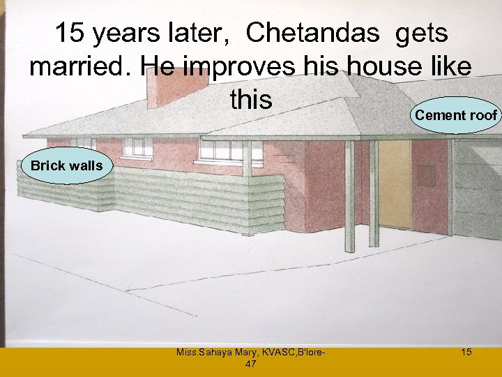 15 years later, Chetandas gets married. He improves his house like this Cement roof