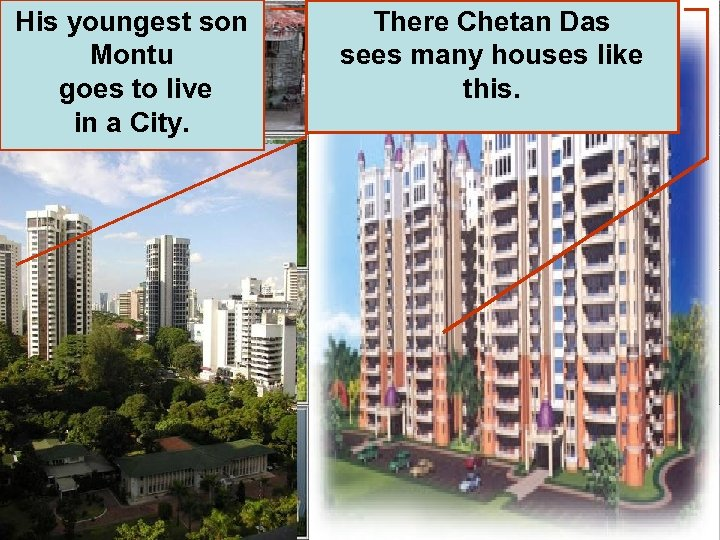 His youngest son Montu goes to live in a City. There Chetan Das sees