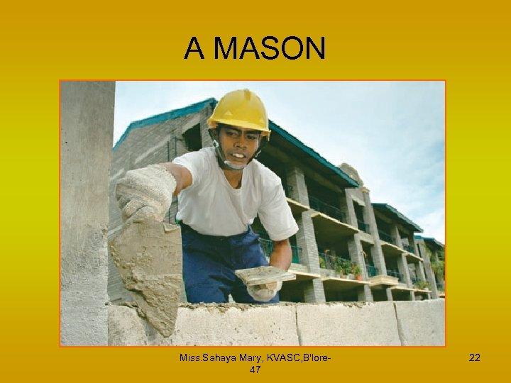 A MASON Miss. Sahaya Mary, KVASC, B'lore 47 22