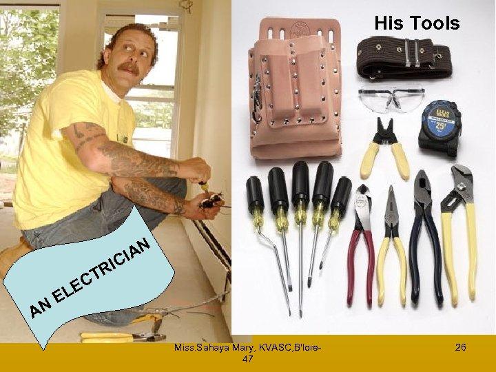 His Tools RI T AN A CI N EC EL Miss. Sahaya Mary, KVASC,