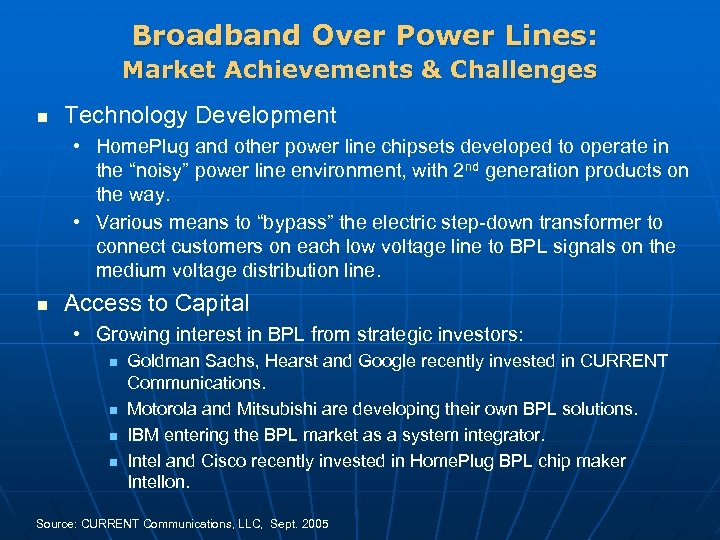 Broadband Over Power Lines: Market Achievements & Challenges n Technology Development • Home. Plug