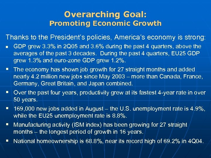 Overarching Goal: Promoting Economic Growth Thanks to the President's policies, America's economy is strong:
