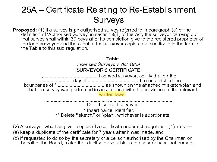 25 A – Certificate Relating to Re-Establishment Surveys Proposed: (1) If a survey is