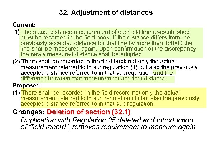 32. Adjustment of distances Current: 1) The actual distance measurement of each old line