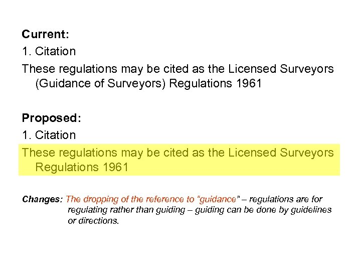 Current: 1. Citation These regulations may be cited as the Licensed Surveyors (Guidance of