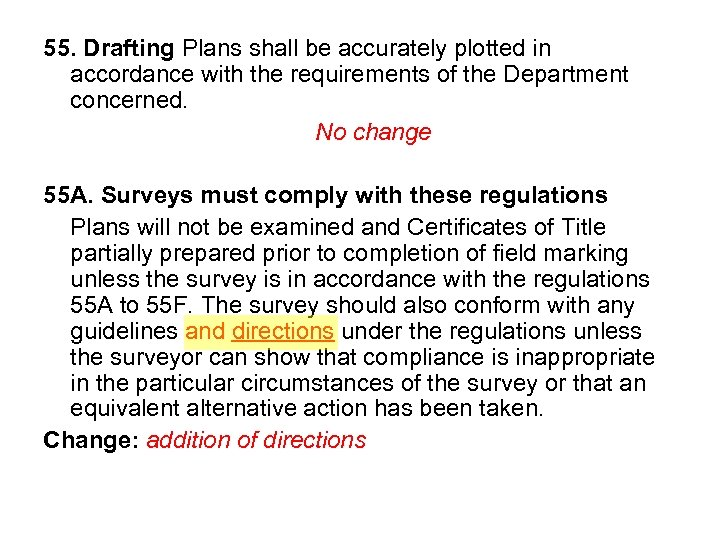 55. Drafting Plans shall be accurately plotted in accordance with the requirements of the