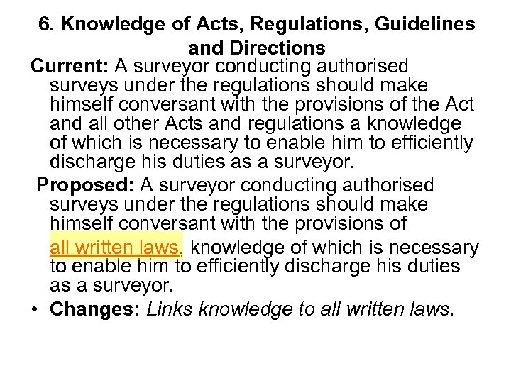 6. Knowledge of Acts, Regulations, Guidelines and Directions Current: A surveyor conducting authorised surveys