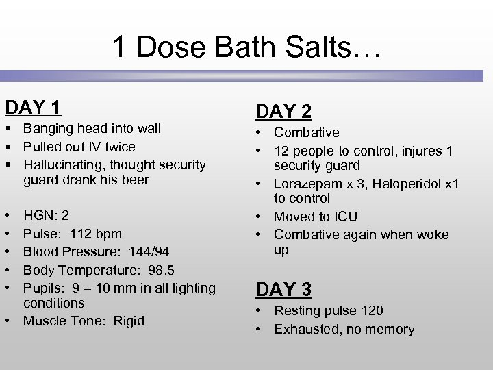 1 Dose Bath Salts… DAY 1 § Banging head into wall § Pulled out