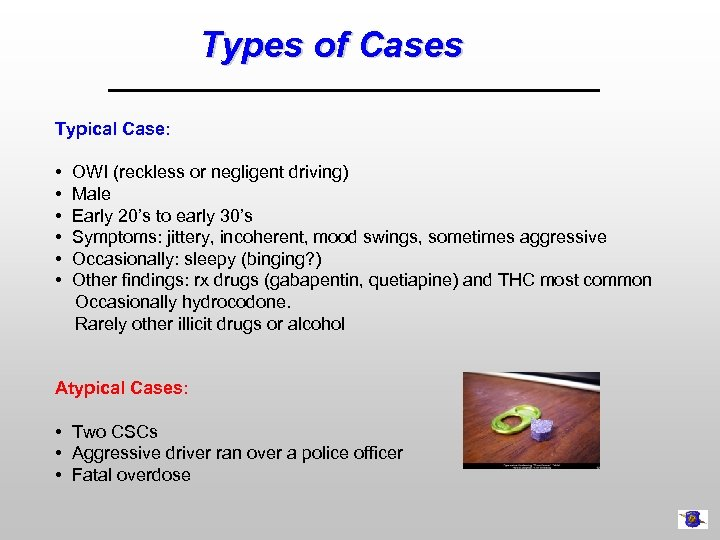 Types of Cases Typical Case: • OWI (reckless or negligent driving) • Male •