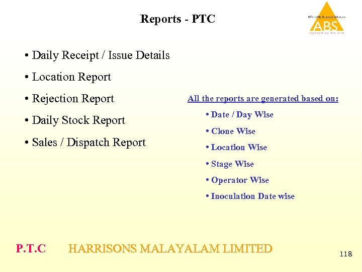 Reports - PTC • Daily Receipt / Issue Details • Location Report • Rejection