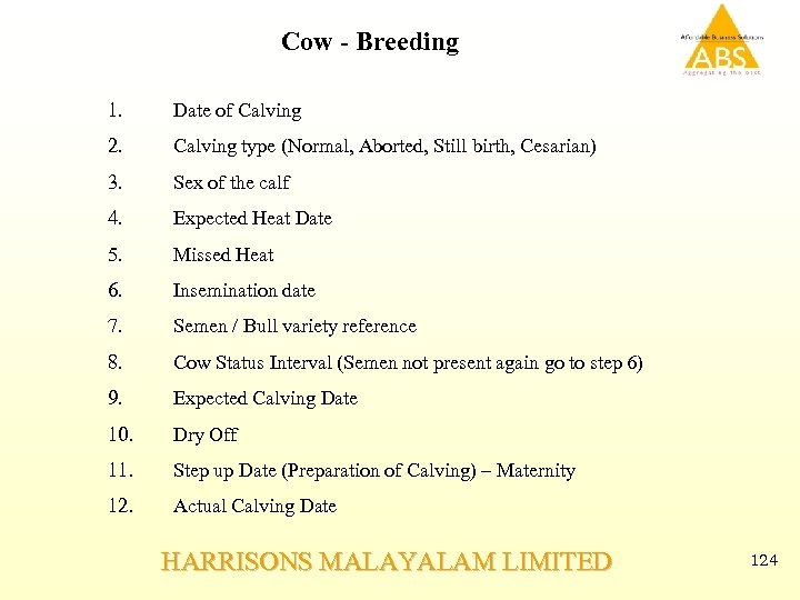 Cow - Breeding 1. Date of Calving 2. Calving type (Normal, Aborted, Still birth,