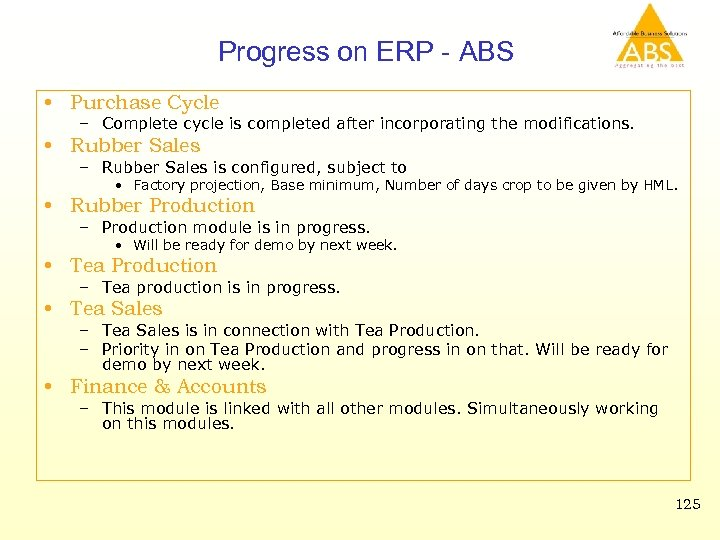 Progress on ERP - ABS • Purchase Cycle – Complete cycle is completed after