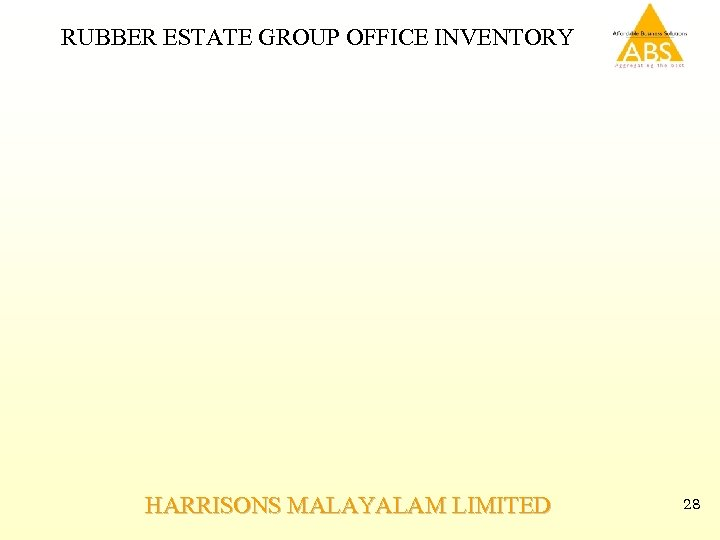 RUBBER ESTATE GROUP OFFICE INVENTORY HARRISONS MALAYALAM LIMITED 28