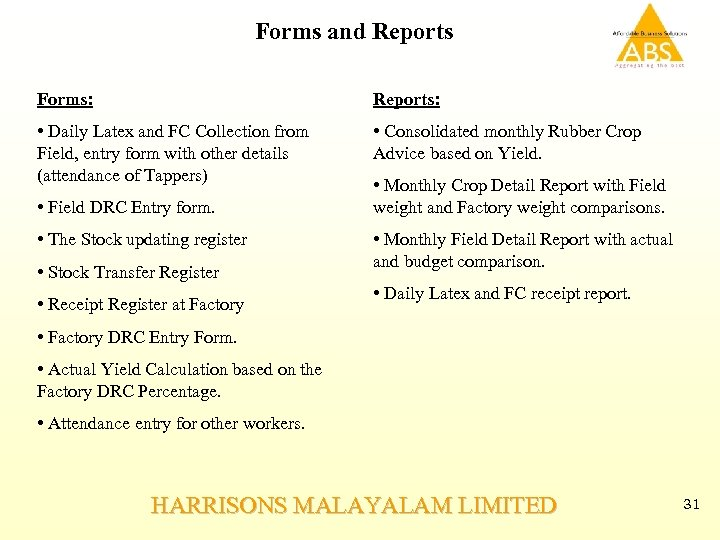 Forms and Reports Forms: Reports: • Daily Latex and FC Collection from Field, entry