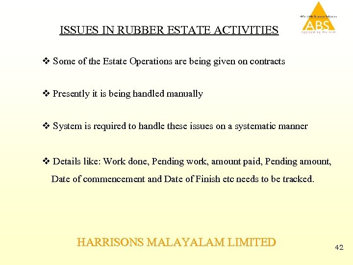 ISSUES IN RUBBER ESTATE ACTIVITIES v Some of the Estate Operations are being given