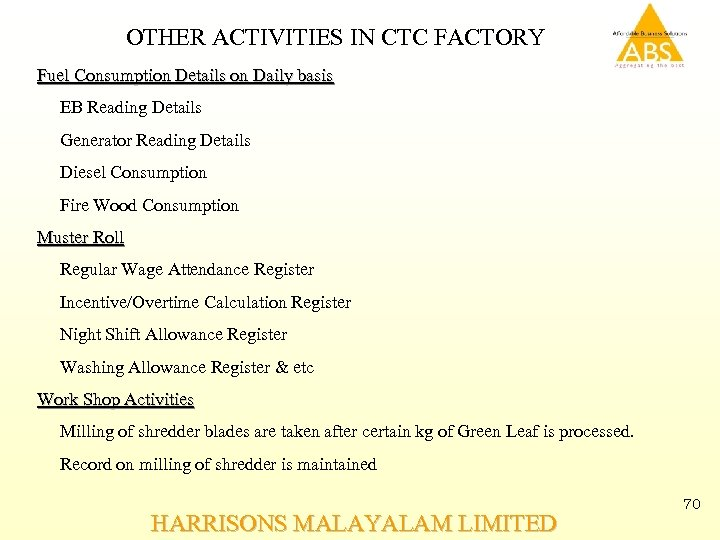 OTHER ACTIVITIES IN CTC FACTORY Fuel Consumption Details on Daily basis EB Reading Details