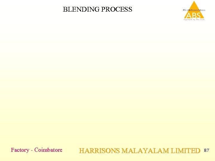 BLENDING PROCESS Factory - Coimbatore HARRISONS MALAYALAM LIMITED 87