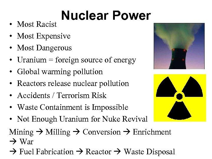 • • • Nuclear Power Most Racist Most Expensive Most Dangerous Uranium =