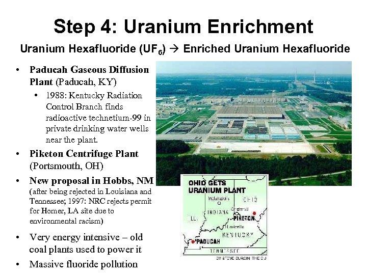 Step 4: Uranium Enrichment Uranium Hexafluoride (UF 6) Enriched Uranium Hexafluoride • Paducah Gaseous