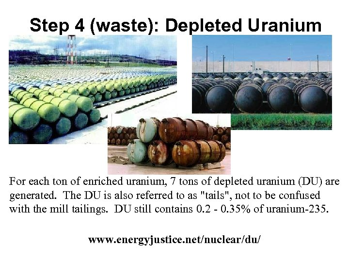 Step 4 (waste): Depleted Uranium For each ton of enriched uranium, 7 tons of