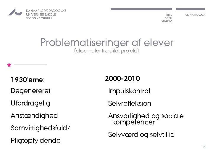 DANMARKS PÆDAGOGISKE UNIVERSITETSSKOLE TITEL NAVN STILLING AARHUS UNIVERSITET 26. MARTS 2009 Problematiseringer af elever