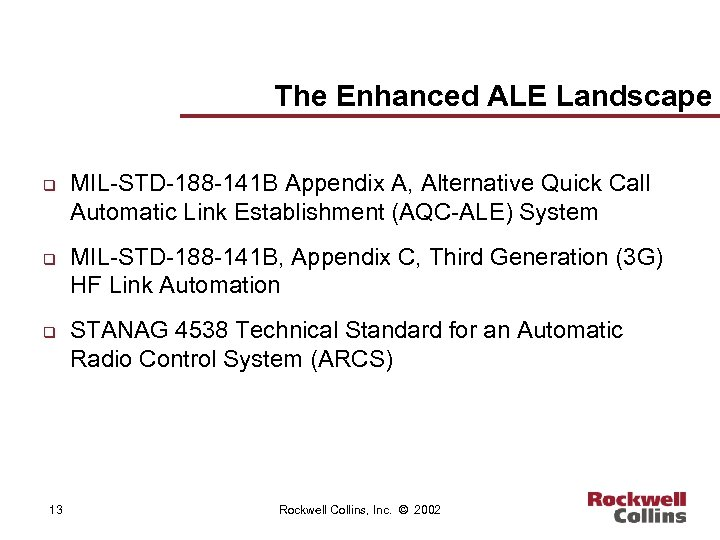 The Enhanced ALE Landscape q q q 13 MIL-STD-188 -141 B Appendix A, Alternative