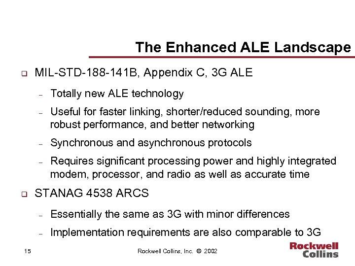 The Enhanced ALE Landscape q MIL-STD-188 -141 B, Appendix C, 3 G ALE –