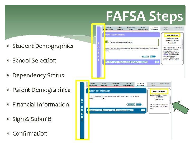 FAFSA Steps Student Demographics School Selection Dependency Status Parent Demographics Financial Information Sign &