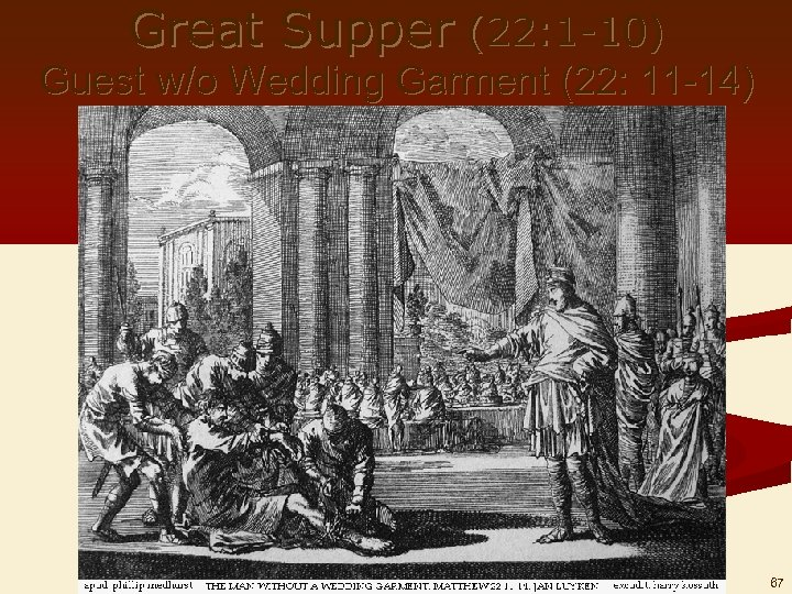Great Supper (22: 1 -10) Guest w/o Wedding Garment (22: 11 -14) 67