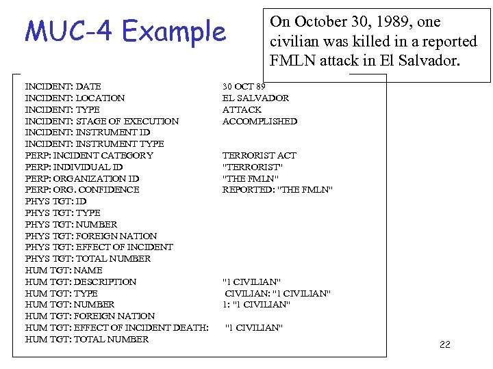 MUC-4 Example On October 30, 1989, one civilian was killed in a reported FMLN