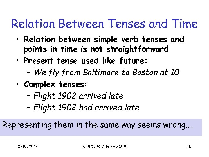Relation Between Tenses and Time • Relation between simple verb tenses and points in