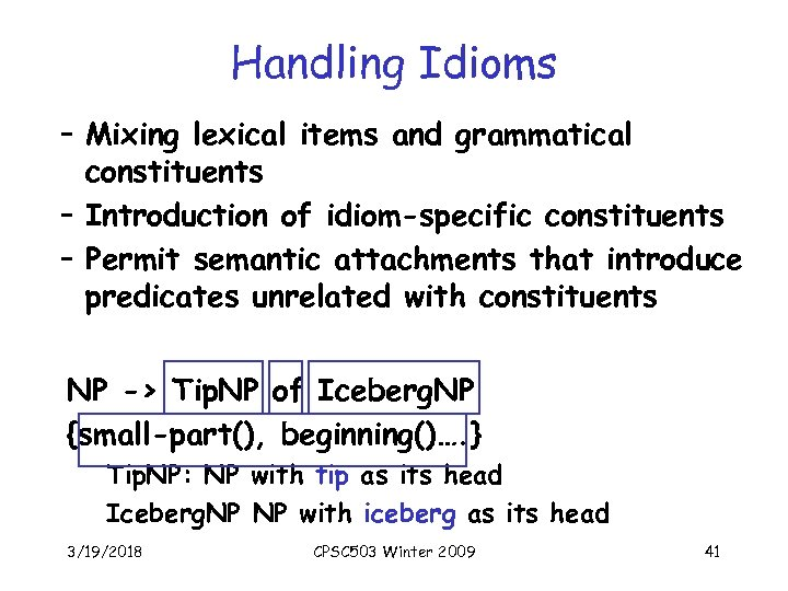 Handling Idioms – Mixing lexical items and grammatical constituents – Introduction of idiom-specific constituents