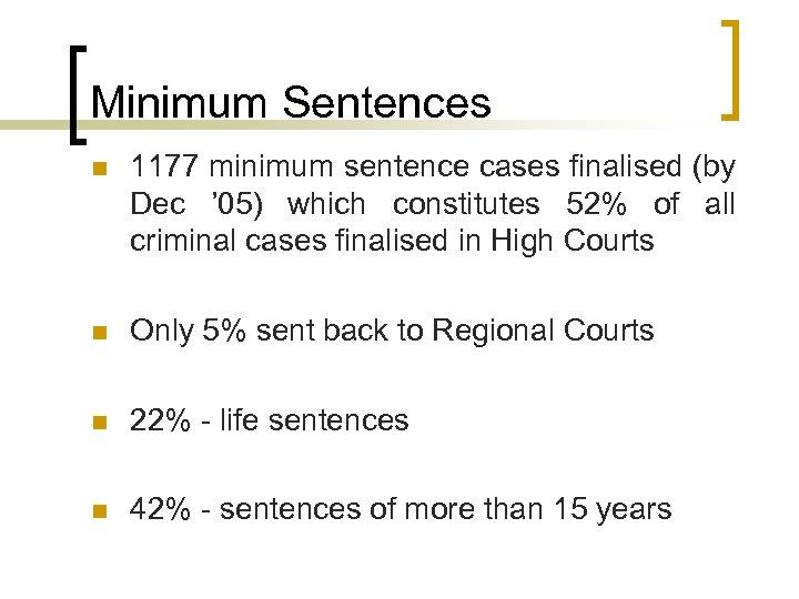 Minimum Sentences n 1177 minimum sentence cases finalised (by Dec ' 05) which constitutes