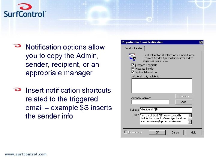 Notification options allow you to copy the Admin, sender, recipient, or an appropriate manager