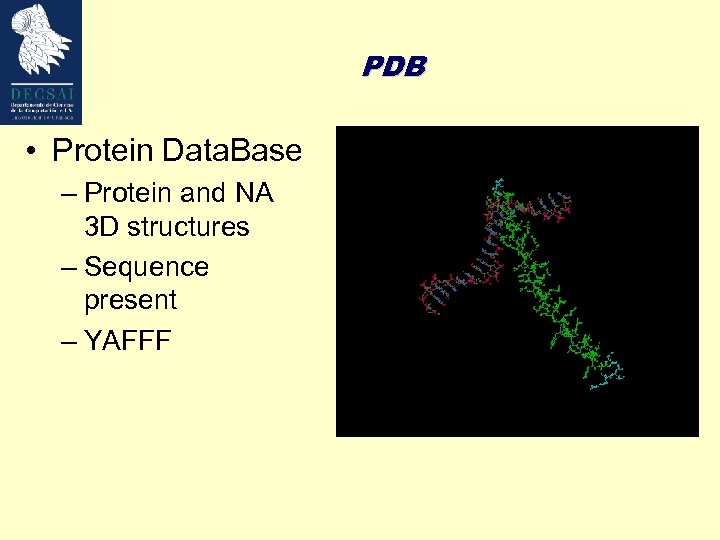 PDB • Protein Data. Base – Protein and NA 3 D structures – Sequence